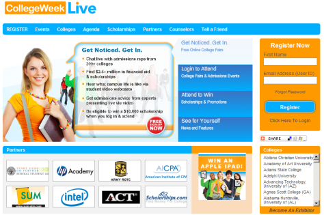 a screencapture of the College Week website
