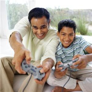 gaming dad and son