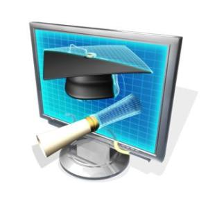 online learning graduation with computer and graduation cap and diploma