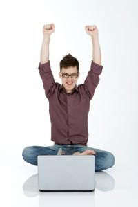happy online student man