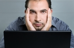 sad online student man