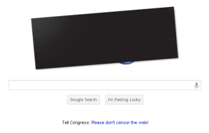 google in protest blacked out image
