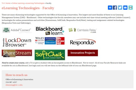 Faculty Page for all eLearning Technologies Resources
