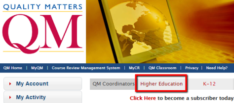 Click on Higher Education Screenshot