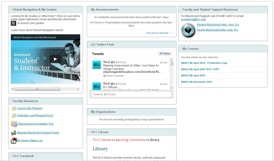Screenshot of Blackboard module page after changes